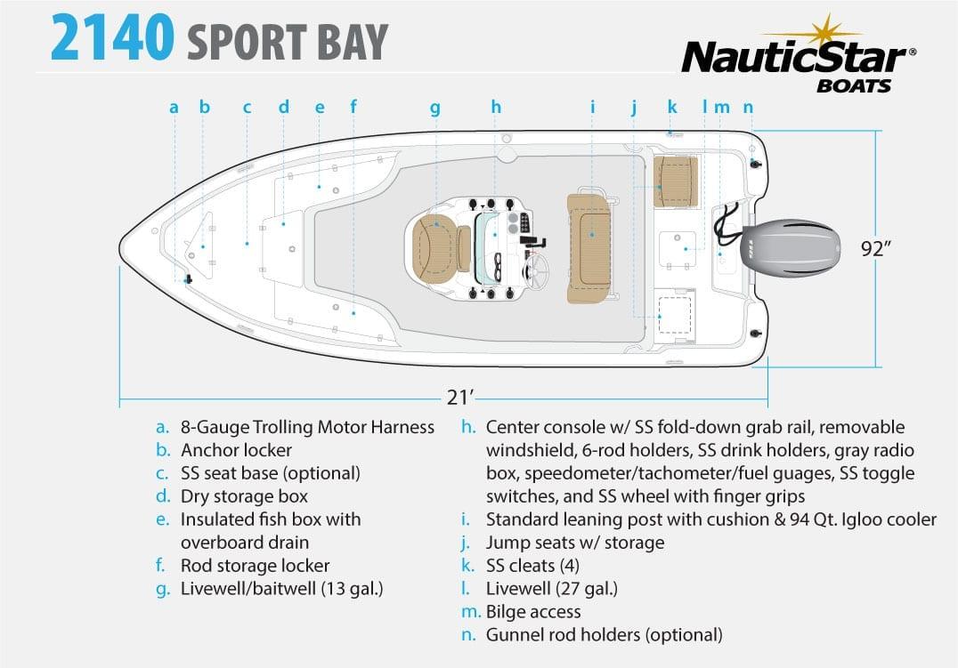 NauticStar 2140 Sport Bay fishing boat - Aqua Marine